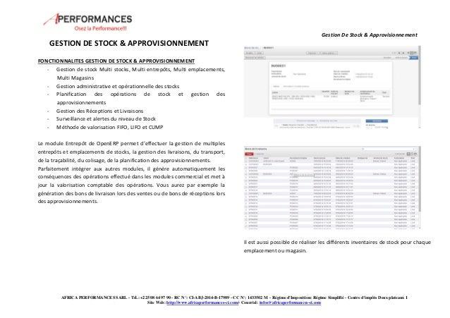 Gestion De Stock & Approvisionnement  FONCTIONNALITES GESTION DE STOCK & APPROVISIONNEMENT  - Gestion de stock Multi stock...