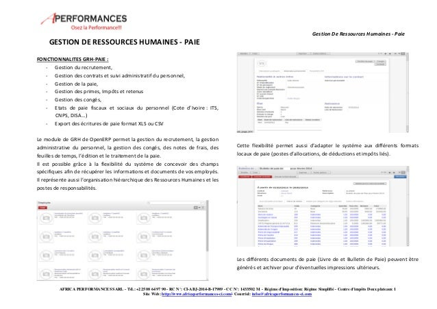 Gestion De Ressources Humaines - Paie  AFRICA PERFORMANCES SARL - Tél.: +225 08 64 97 90 - RC N°: CI-ABJ-2014-B-17989 - CC...