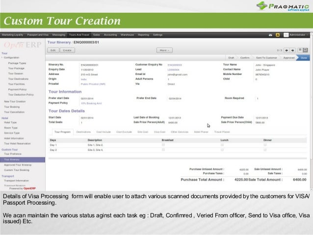 Odoo OpenERP 7 Tours Travel Management – Tour Reservation Form