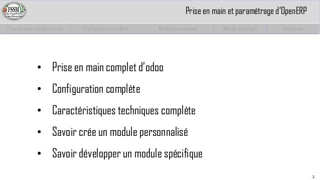Paramétrage et développement spécifique des modules odoo(OpenERP) Partie 1 Slide 3