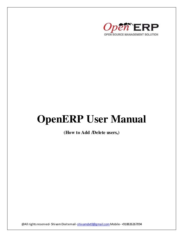 Odoo (OpenERP) How to Add /Delete users Manual