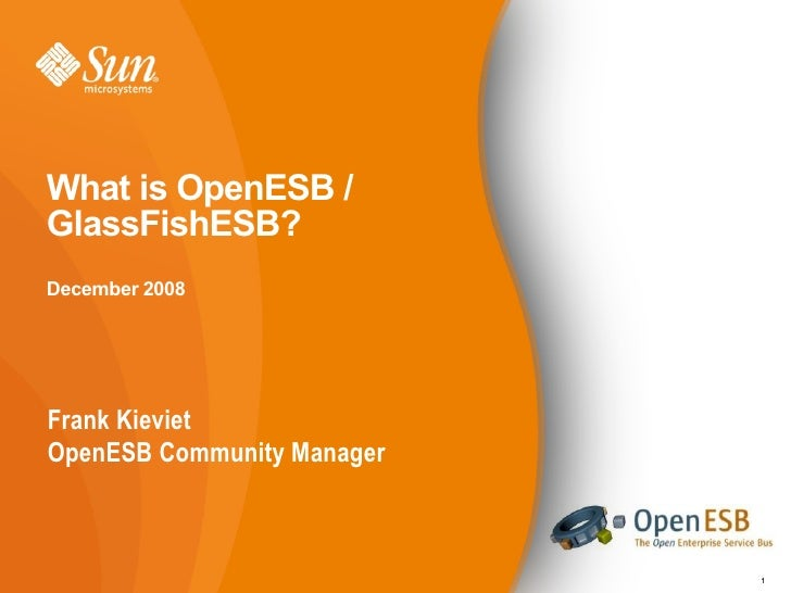 What is OpenESB / GlassFishESB? December 2008     Frank Kieviet OpenESB Community Manager                                1