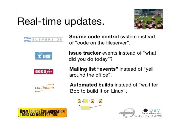 """Real-time updates.                             Source code control system instead                             of """"code on ..."""