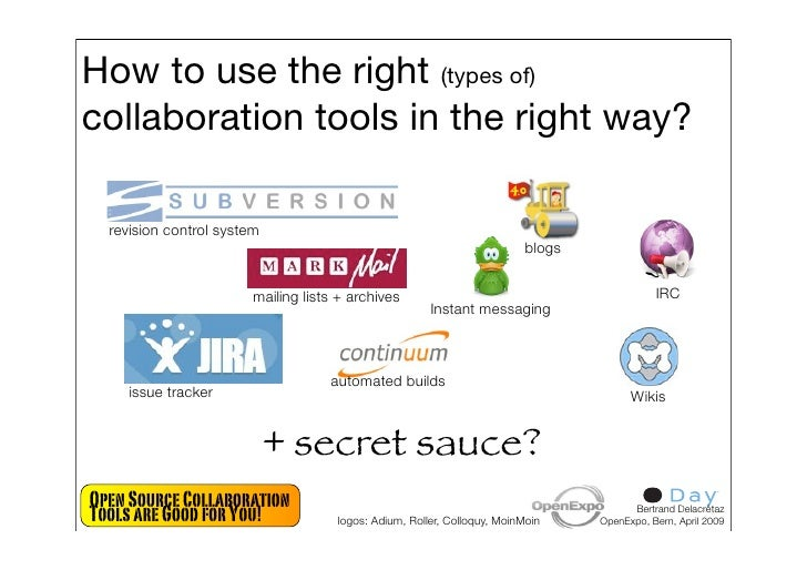 How to use the right (types of) collaboration tools in the right way?    revision control system                          ...