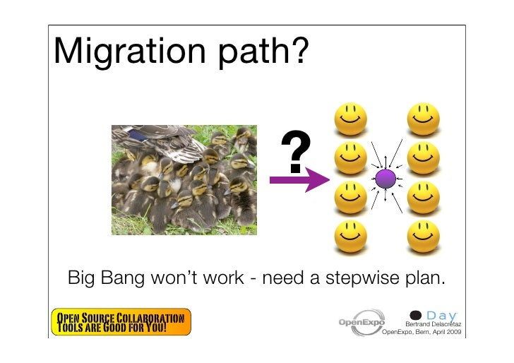 Migration path?                               ?   Big Bang won't work - need a stepwise plan. Open Source Collaboration To...
