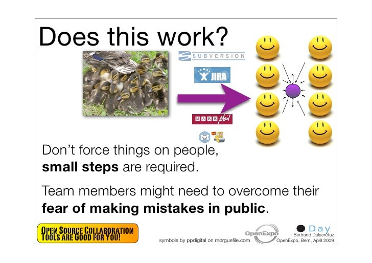 Does this work?    Don't force things on people, small steps are required. Team members might need to overcome their fear ...