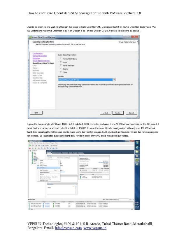 How to configure OpenFiler iSCSI Storage for use with VMware vSphere 5.0 VEPSUN Technologies, #100 & 104, S R Arcade, Tula...