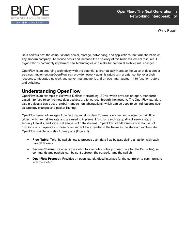 OpenFlow: The Next Generation in                                                                             Networking In...