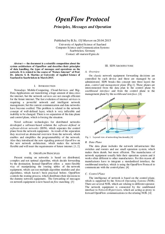 OpenFlow Protocol Principles, Messages and Operation Published by B.Sc. Ulf Marxen on 20.04.2015 University of Applied Sci...