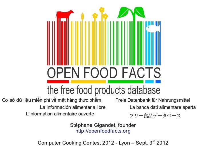 Cơ sở dữ liệu miễn phí về mặt hàng thực phẩm        Freie Datenbank für Nahrungsmittel                 La información alim...