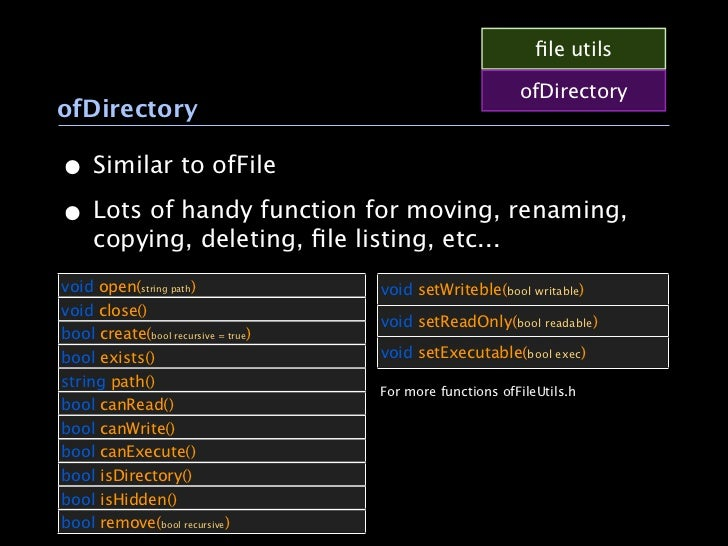 file utils                                                           ofDirectoryofDirectory• Similar to ofFile• Lots of han...