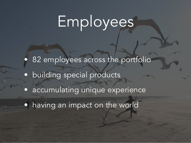 Employees • 82 employees across the portfolio • building special products • accumulating unique experience • having an imp...