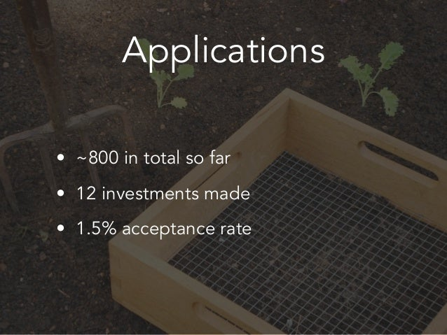 Applications • ~800 in total so far • 12 investments made • 1.5% acceptance rate