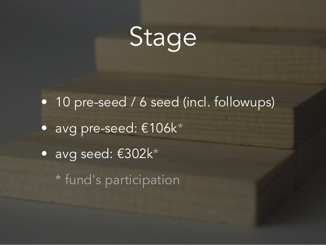 Stage • 10 pre-seed / 6 seed (incl. followups) • avg pre-seed: €106k* • avg seed: €302k* * fund's participation