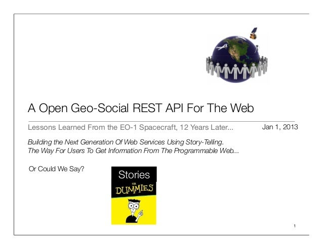 A Open Geo-Social REST API For The WebLessons Learned From the EO-1 Spacecraft, 12 Years Later...         Jan 1, 2013Build...