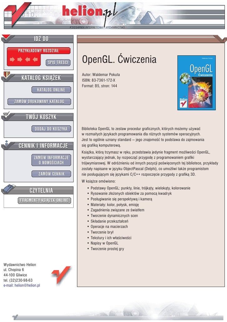 IDZ DO          PRZYK£ADOWY ROZDZIA£                             SPIS TRE CI   OpenGL. Æwiczenia                          ...