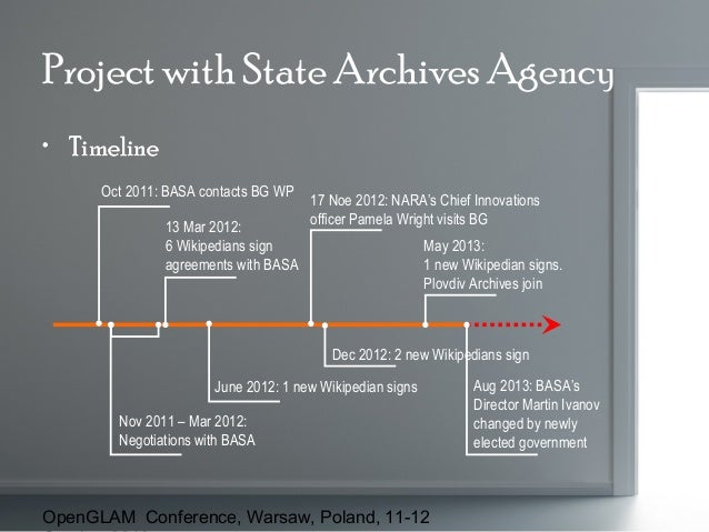 Project with State Archives Agency • Timeline Oct 2011: BASA contacts BG WP 13 Mar 2012: 6 Wikipedians sign agreements wit...