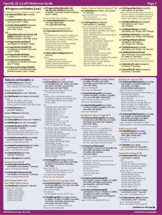 OpenGL ES 3.2 Reference Guide Slide 2
