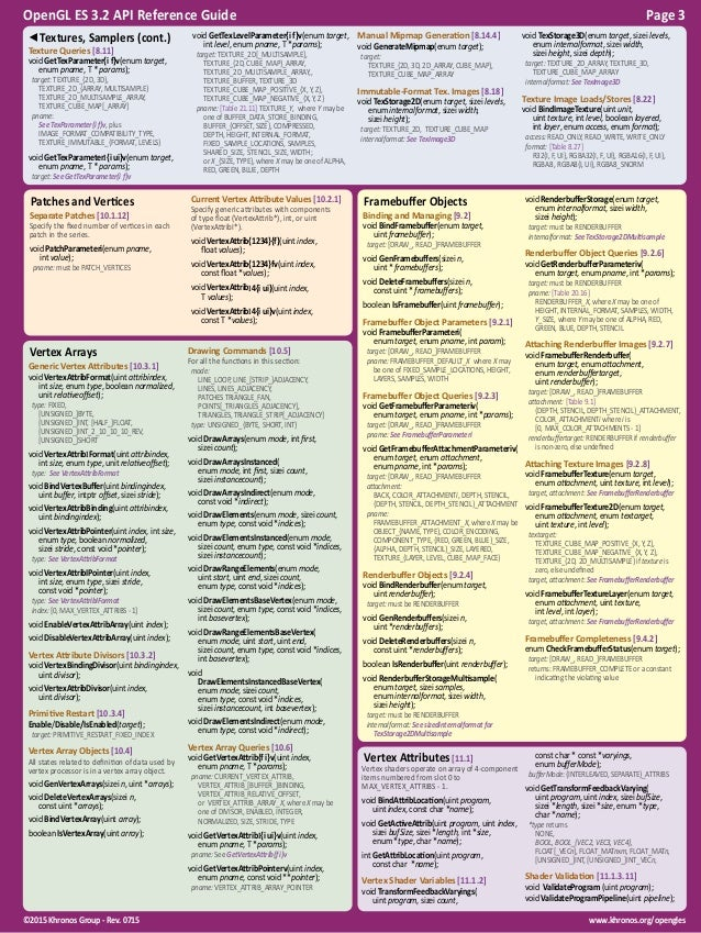 OpenGL ES 3.2 Reference Guide Slide 3