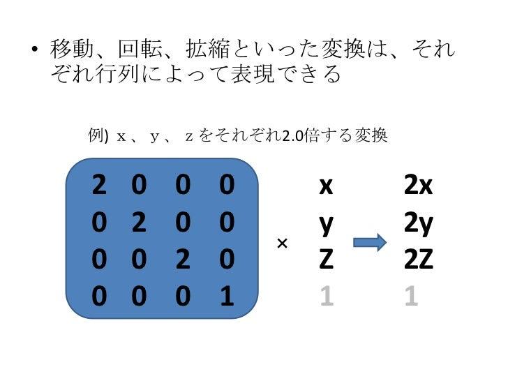 3Dでの例<br />8頂点分の座標があったとして<br />float vertex[] = {<br />-1.0f, -1.0f,  1.0f, // x,y,z<br /> 1.0f, -1.0f,  1.0f,<br /> 1....