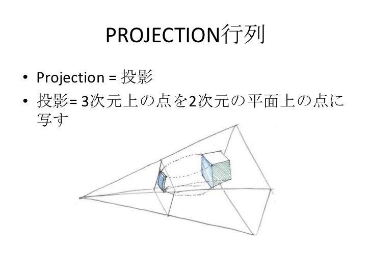 OpenGL内の行列<br />OpenGLは内部に、二つ行列を1個ずつ持っている<br />PROJECTION行列<br />MODEL_VIEW行列<br />それぞれ何をする為の行列なんだろう?<br />