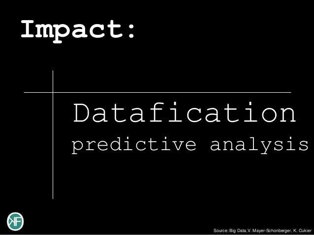 Impact:   Datafication   predictive analysis              Source: Big Data,V. Mayer-Schonberger, K. Cukier