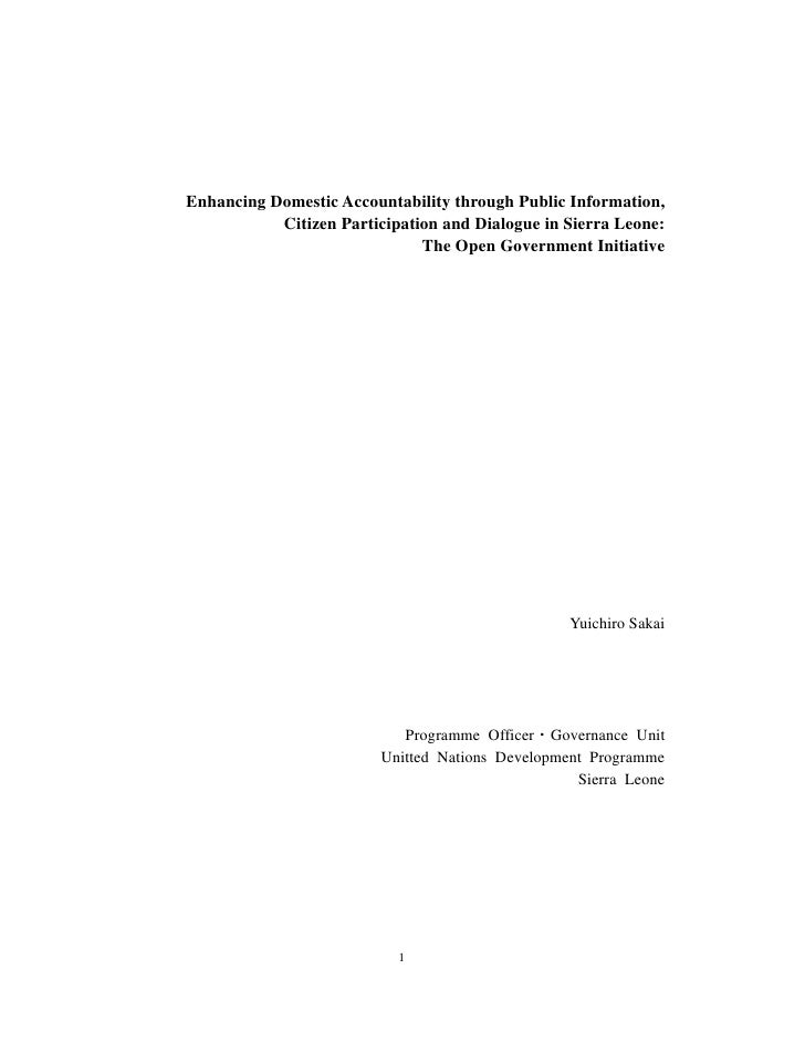 Enhancing Domestic Accountability through Public Information,           Citizen Participation and Dialogue in Sierra Leone...