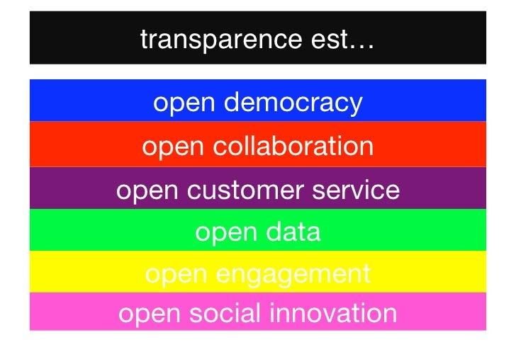 transparence est…  open democracy open collaborationopen customer service      open data  open engagementopen social innov...