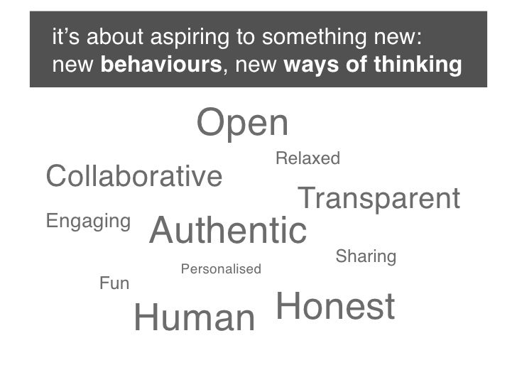 it's about aspiring to something new: new behaviours, new ways of thinking               Open                            ...