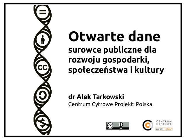 Otwarte dane surowce publiczne dla rozwoju gospodarki, społeczeństwa i kultury   dr Alek Tarkowski Centrum Cyfrowe Pro...