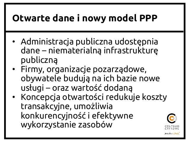 Otwarte dane i nowy model PPP • Administracja publiczna udostępnia dane – niematerialną infrastrukturę publiczną • Fir...