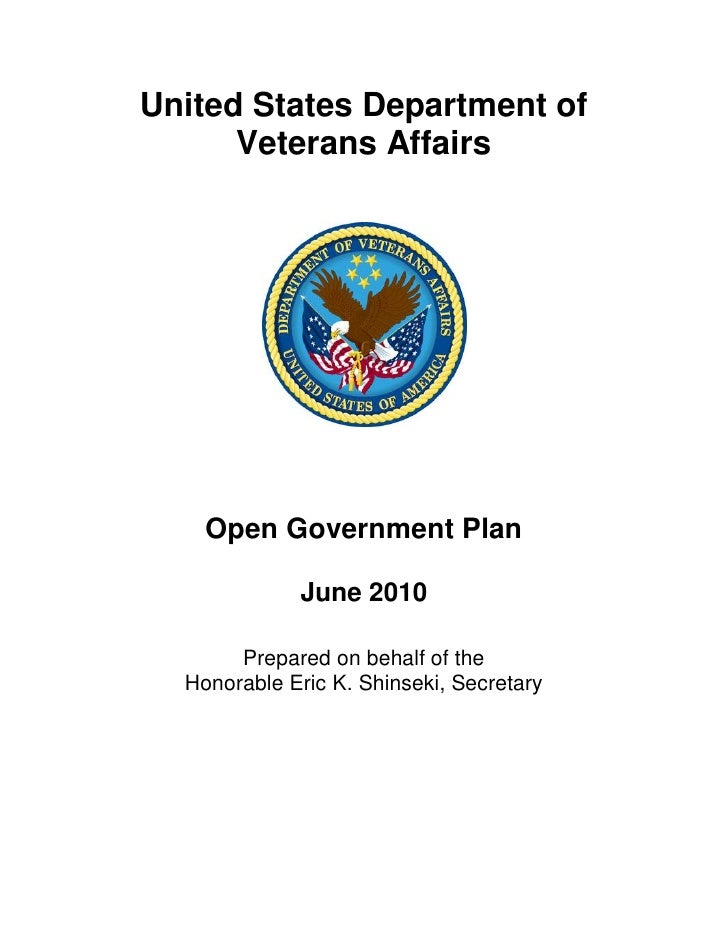 United States Department of       Veterans Affairs         Open Government Plan               June 2010         Prepared o...