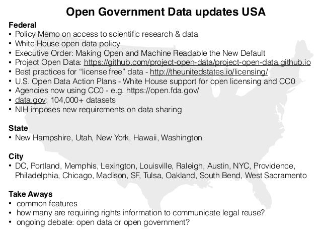 Open Government Data updates USA Federal! • Policy Memo on access to scientific research & data • White House open data pol...