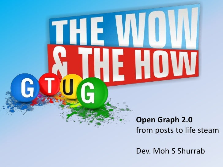 Open Graph 2.0from posts to life steamDev. Moh S Shurrab