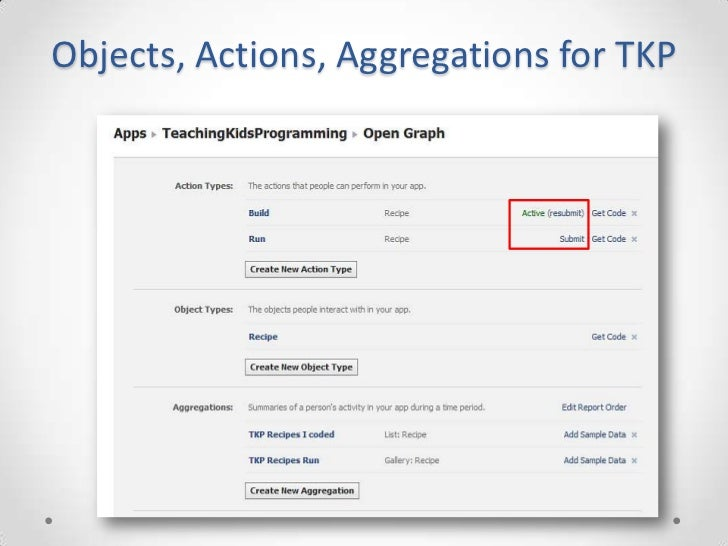 Objects, Actions, Aggregations for TKP