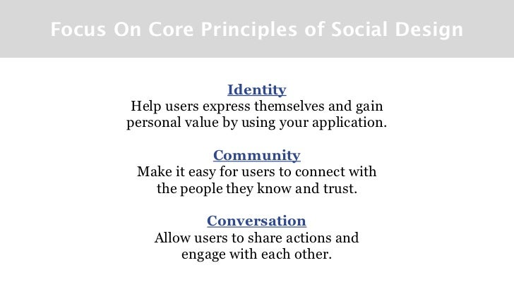 Focus On Core Principles of Social Design                       Identity        Help users express themselves and gain    ...