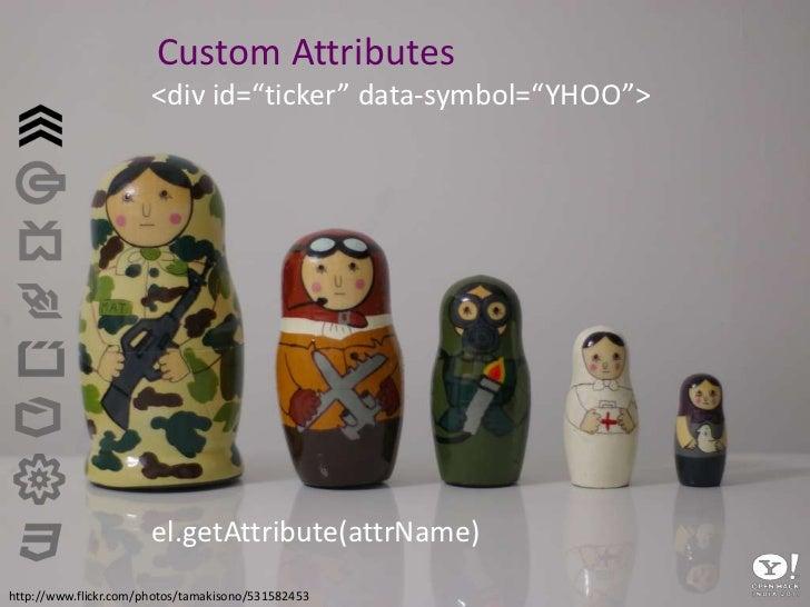 "Custom Attributes<br /><div id=""ticker"" data-symbol=""YHOO""><br />el.getAttribute(attrName)<br />http://www.flickr.com/phot..."