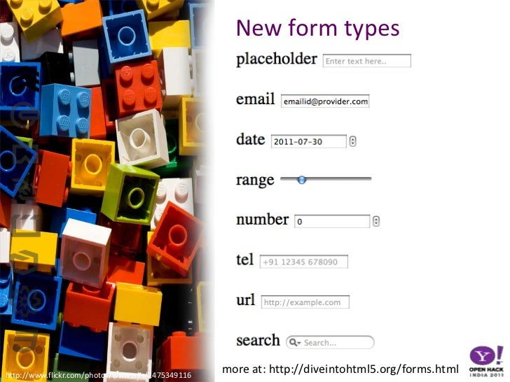 New form types<br />more at: http://diveintohtml5.org/forms.html<br />http://www.flickr.com/photos/wwworks/2475349116<br />