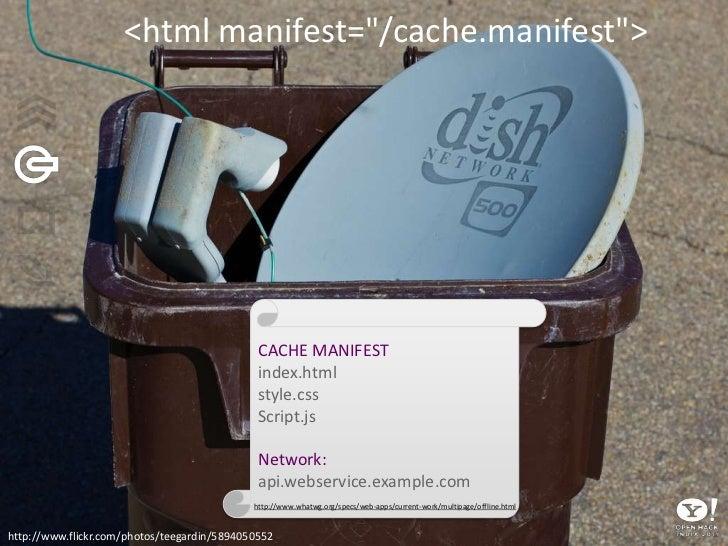 "<html manifest=""/cache.manifest""><br />CACHE MANIFEST<br />index.html<br />style.css<br />Script.js<br />Network: <br />ap..."