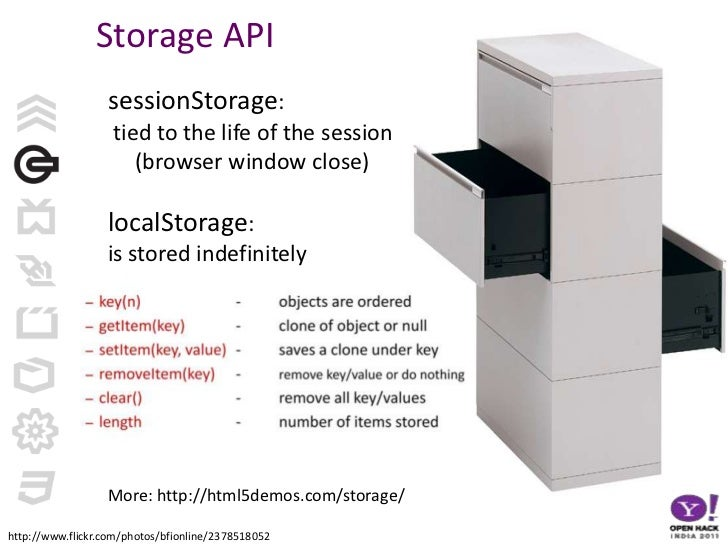 Storage API<br />sessionStorage:<br /> tied to the life of the session (browser window close)<br />localStorage: <br />is ...