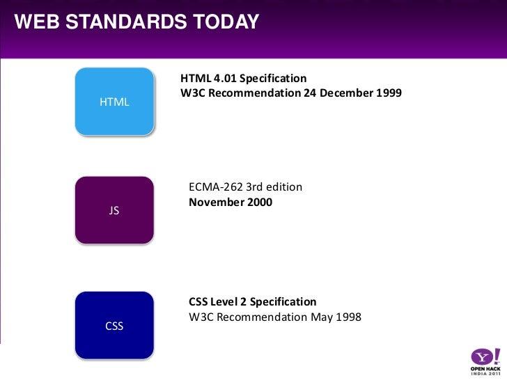 Web standards today<br />HTML<br />HTML 4.01 Specification<br />W3C Recommendation 24 December 1999<br />JS<br />ECMA-262 ...