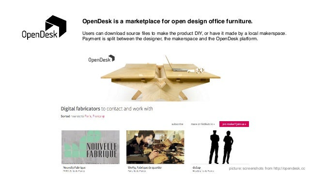 OpenDesk is a marketplace for open design office furniture.! ! Users can download source files to make the product DIY, or h...