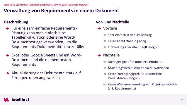 Für eine sehr einfache Requirements- Planung kann man einfach eine Tabellenkalkulation oder eine Word- Dokumentvorlage ver...