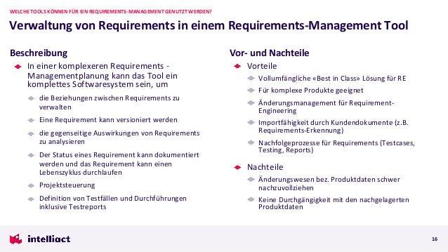 In einer komplexeren Requirements - Managementplanung kann das Tool ein komplettes Softwaresystem sein, um die Beziehungen...