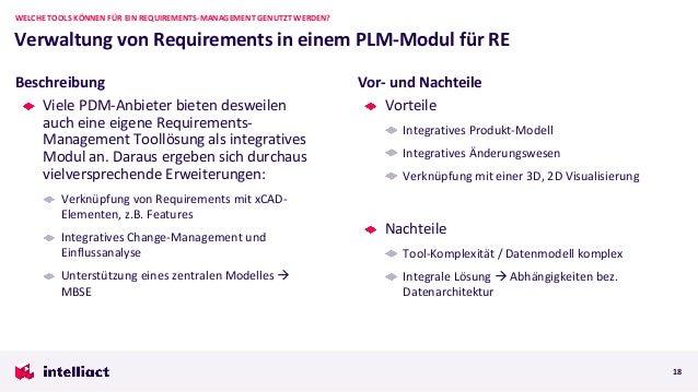 Viele PDM-Anbieter bieten desweilen auch eine eigene Requirements- Management Toollösung als integratives Modul an. Daraus...
