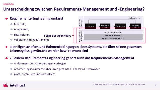 Requirements-Engineering umfasst Ermitteln, Analysieren, Spezifizieren, Validieren von Requirements aller Eigenschaften un...
