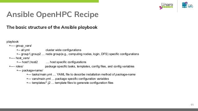 Ansible OpenHPC Recipe The basic structure of the Ansible playbook playbook +---- group_vars/ +-- all.yml cluster wide con...