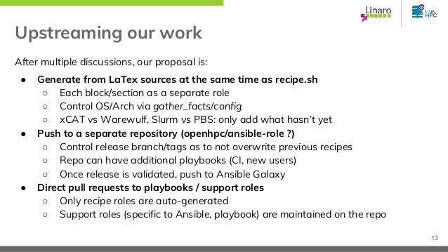 Upstreaming our work After multiple discussions, our proposal is: ● Generate from LaTex sources at the same time as recipe...
