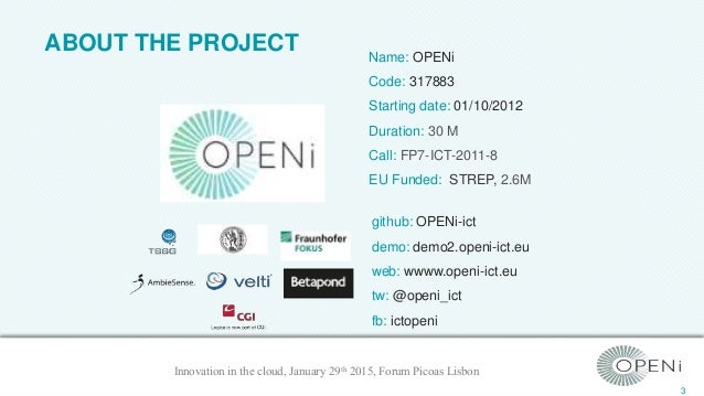 """OPENi APIs & Personal Cloudlets - """"Innovation in the cloud"""" @PT Showroom Lisbon 29th of January 2015 Slide 3"""