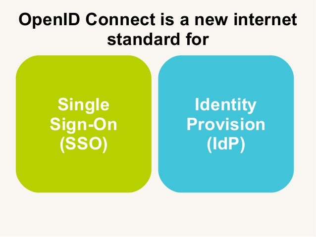 OpenID Connect is a new internet standard for Single Sign-On (SSO) Identity Provision (IdP)